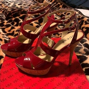 Brand New 7.5 Guess Red Patent Leather Heels